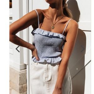 Tops - Smocked crop top, brand new with tags